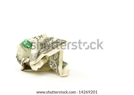 Crumpled Dollar on a White Background.