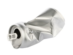 Crumpled empty blank soda or beer can garbage. Crushed junk can recycle isolated without shadow