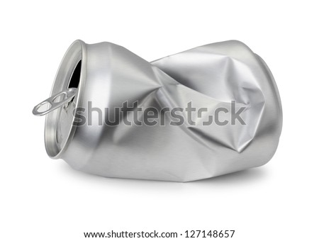 Crumpled empty blank soda or beer can garbage, Realistic photo image.     Crushed junk can can recycle  isolated on white background