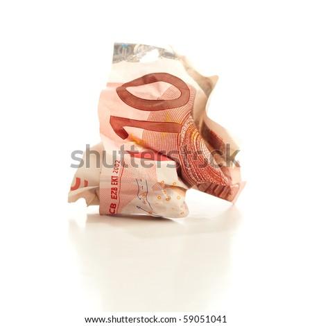 crumpled euro money