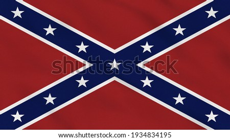 Crumpled Fabric Flag of Confederates USA Intro. Confederates Flag. USA, American Flag. North America Flags. Celebration. Flag Day. Patriots. Realistic Animation 4K. Surface Texture. Background Fabric. Foto stock ©