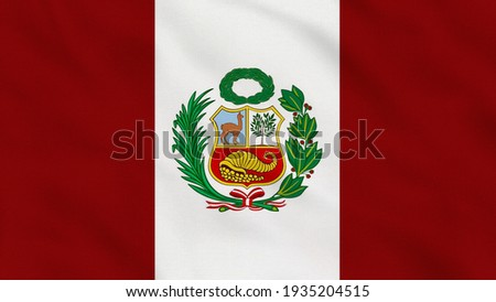 Crumpled Fabric Flag of Peru Intro. Peru Flag, Peru Banner, South America Flags, Latin America. Celebration. Flag Day. Patriots. Realistic Animation 4K. Surface Texture. Background Fabric.