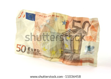 crumpled fifty euro banknote isolated on white background
