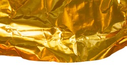 Crumpled gold aluminum texture background