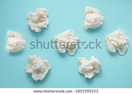 Crumpled handkerchiefs on a blue background Foto stock ©