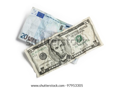 Crumpled money isolated on white