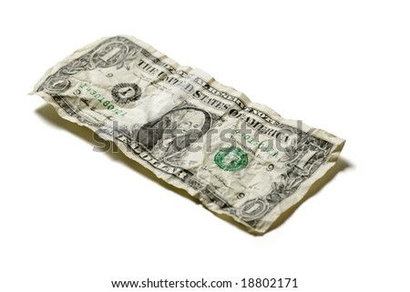 Crumpled one dollar bill in United States Currency, isolated on a white background