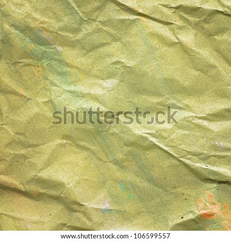Crumpled, painted grunge paper texture - stock photo