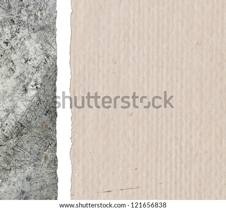 Crumpled paper background with cement wall
