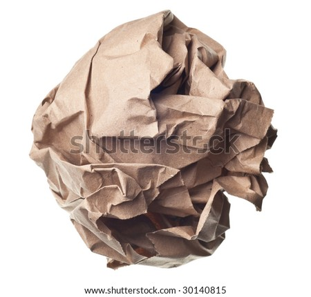 crumpled paper ball isolated on a white backgroun
