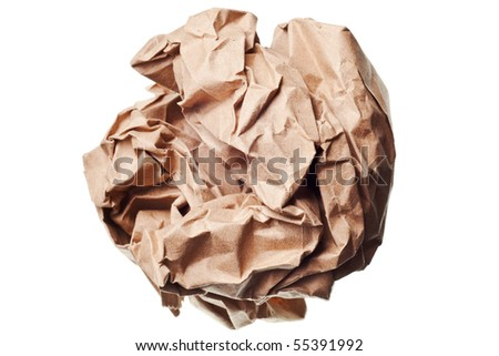 crumpled paper ball isolated on a white background