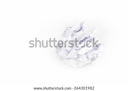 Crumpled Paper ball isolated on white background. #264301982