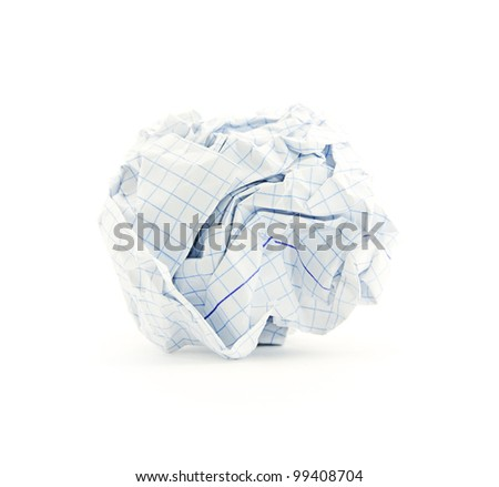 Crumpled paper ball over white monochrome background