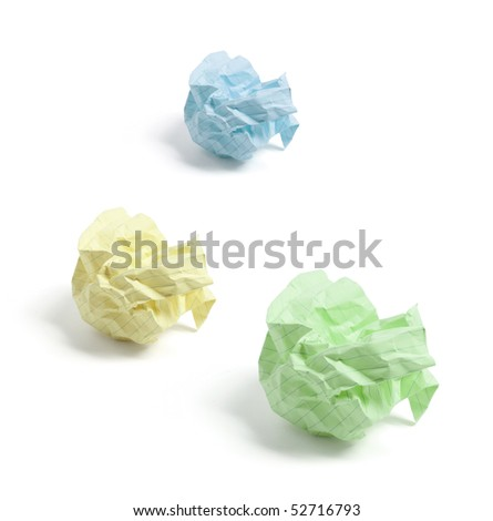 Crumpled Paper Balls on White Background