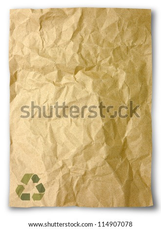 Crumpled paper for recycle