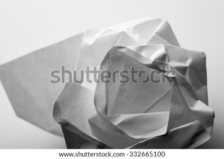Crumpled paper in B-W. Macro view Zdjęcia stock ©