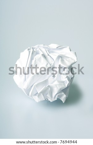 Crumpled paper wad after brainstorming