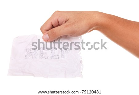 Crumpled paper with the word help steady the hand of a man