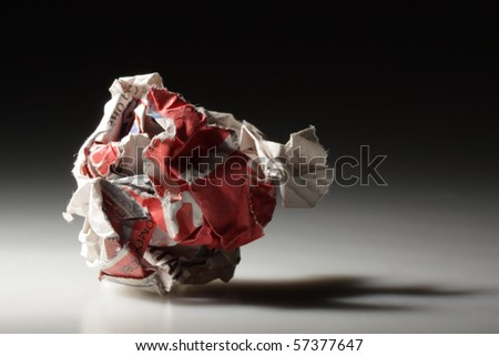 Crumpled rubbish paper