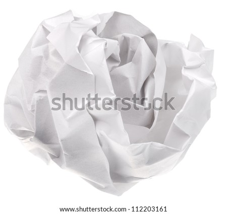 crumpled sheet of paper isolated on white background