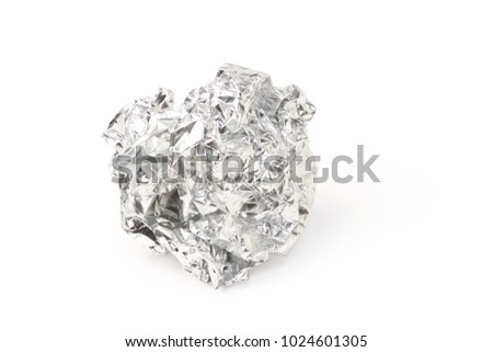Crumpled silver foil ball isolated on white background, clipping path. #1024601305