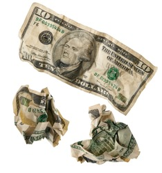 Crumpled ten-dollar bill. In isolation
