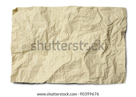 Crumpled yellow legal paper isolated on white with drop shadow. Clipping path included.