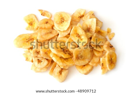 Crunchy banana chips isolated on white background