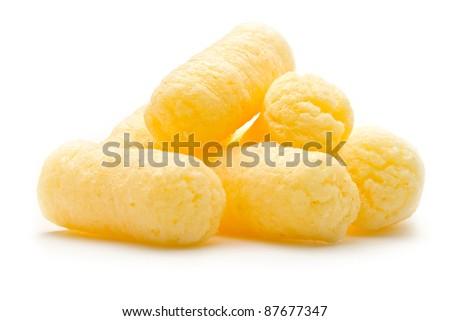 Crunchy corn snacks on white background - stock photo