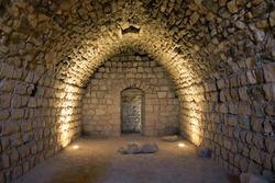 Crusader castle ruins underground, Al-Karak, Jordan. The castle is one of the three largest castles in the region.