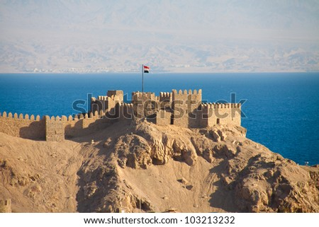 Crusader fortress in Taba, Egypt. Jordan is visible on the other side of the Red sea.