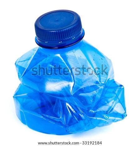 crushed bottle isolated