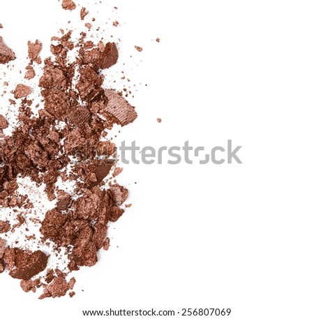 Crushed brown eye shadow isolated on white background #256807069