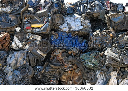 Crushed cars for metal recycling