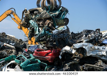 Crushed cars in a junkyard