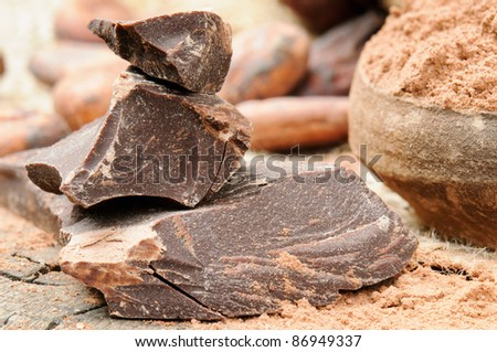 Crushed dark chocolate with cocoa background