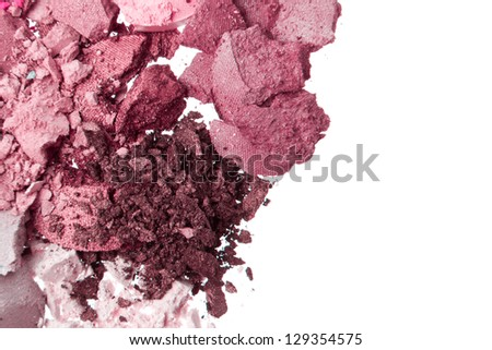 crushed eyeshadows isolated on white background