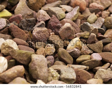 Crushed garden gravel, close-up, can be used as a background