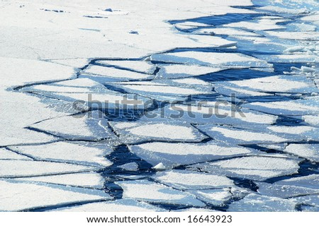 Crushed ice floes in Antarctica