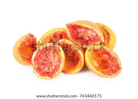 crushed orange on white background #743460175