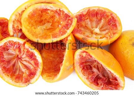 crushed orange on white background #743460205