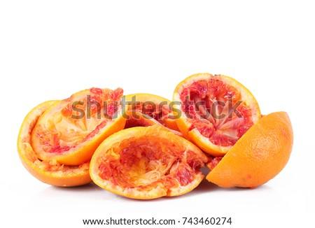crushed orange on white background #743460274