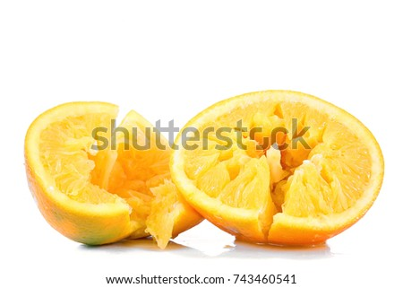 crushed orange on white background #743460541