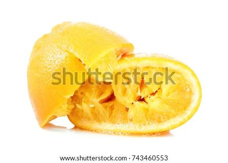 crushed orange on white background #743460553