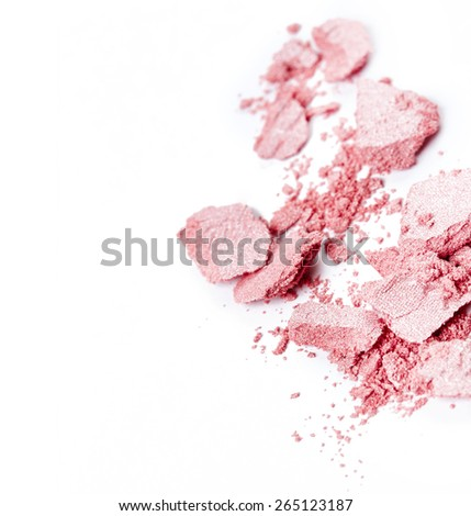 Crushed pink eye shadow isolated on white background #265123187