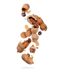 Crushed tamarind fruits are falling down on white background