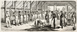Crushing coffee in Suriname, old illustration. Created by Worms after Bray, published on L'Illustration, Journal Universel, Paris, 185