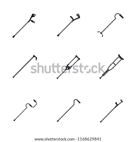 Crutches injury support care leg reliance icons set. Simple illustration of 9 crutches injury support care leg reliance icons for web