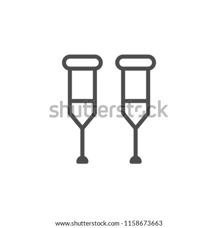 Crutches line icon isolated on white