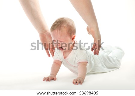 Crying baby and Reaching hands on white background